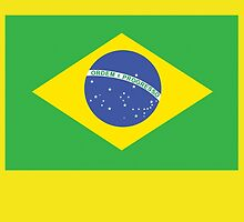 BRAZIL, BRAZILIAN FLAG, FLAG OF BRAZIL, PURE & SIMPLE, Brazil, Football, Olympics, on Yellow by TOM HILL - Designer