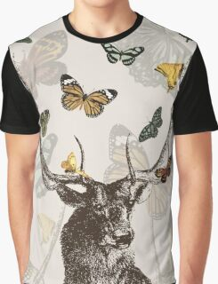 The Stag & Butterflies Graphic T-Shirt