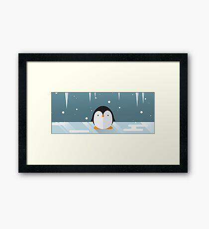 Penguin in the Snow Framed Print
