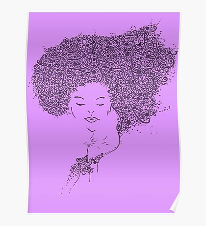 Flower Woman Purple Poster