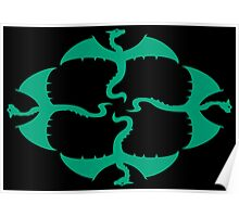 Emerald Green Vector Flying Irish / Gaelic / Celtic Dragons Design Poster