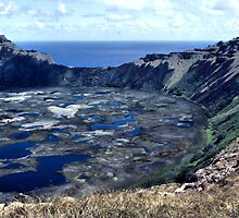 Rano Kau Volcanic Crater, Easter Island by Carole-Anne