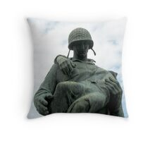 Soldier Statue At Liberty State Park Throw Pillow