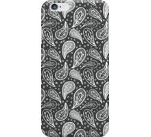 white & gray petals on black iPhone Case/Skin