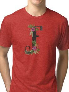 Monogram F with Floral Wreaths Tri-blend T-Shirt