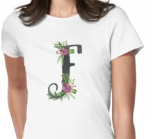 Monogram F with Floral Wreath Womens Fitted T-Shirt