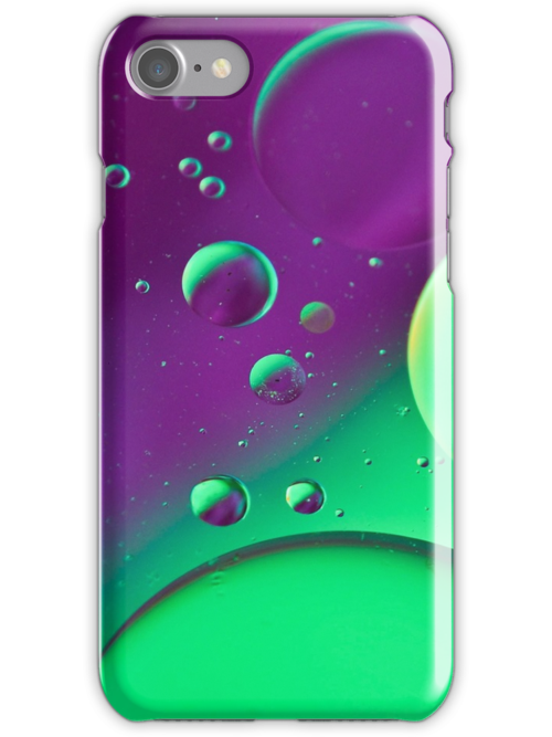 Bright Green & Purple Bubble Mix-iPhone Case by HanieBCreations