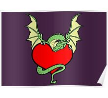 Big Heart Dragon Design, Big Hearted Dragon Design On Purple Background Poster