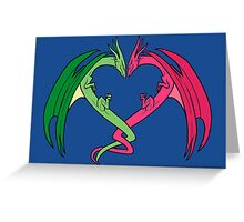 Flying Love Dragons On Blue Background Design Greeting Card