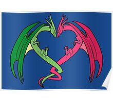 Flying Love Dragons On Blue Background Design Poster