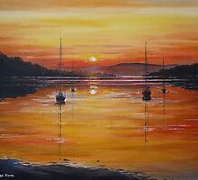 watery sunset by andrew  read