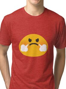 Steam coming out of nose emoji Tri-blend T-Shirt