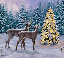 Whitetail Deer and Christmas Tree Winter by csforest