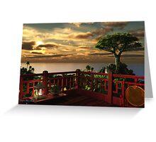 Eastern Flower Sunset Greeting Card