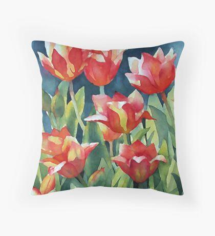 Sunlit Tulips enhanced Throw Pillow