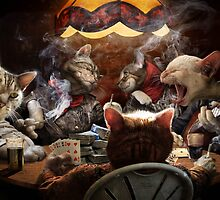 Cats play poker by Komiksar