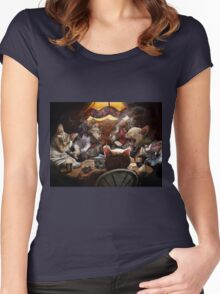 Cats play poker Women's Fitted Scoop T-Shirt