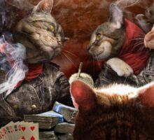 Cats play poker Sticker