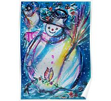 Snowman With Owl In Winter Poster