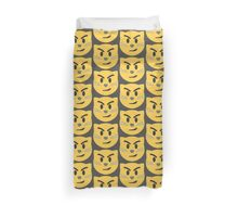 Cat face with wry smile emoji Duvet Cover