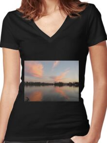 Anchor Cannon vs. Cloud Monster Women's Fitted V-Neck T-Shirt