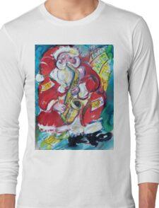 SANTA AND SAX, MUSICAL CHRISTMAS PARTY Long Sleeve T-Shirt