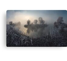 First frost on the river Canvas Print