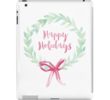 Red and Green Watercolor Holiday Wreath iPad Case/Skin