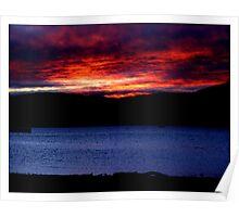 Hudson River Sunset Poster