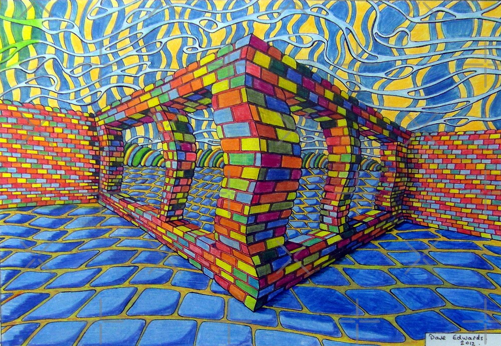 351 - THE RAINBOW WALL - DAVE EDWARDS - COLOURED PENCILS & INK - 2012 by BLYTHART
