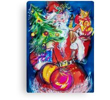 SANTA WITH CHRISTMAS TREE AND GIFTS Canvas Print