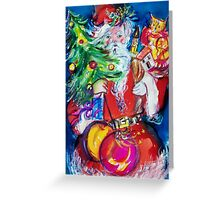 SANTA WITH CHRISTMAS TREE AND GIFTS Greeting Card