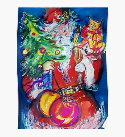 SANTA WITH CHRISTMAS TREE AND GIFTS Poster