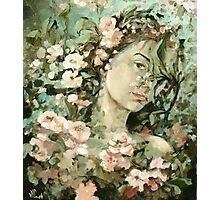 selfportrait with apple flowers Photographic Print