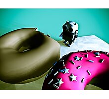 Doughnuts and Toy Robot 02 Photographic Print