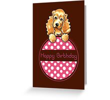 Cocker Spaniel Polka Hangtag Happy Birthday Greeting Card
