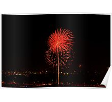 Red Flower Firework Poster