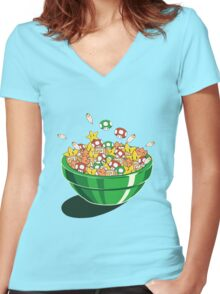 Mario Bros. Power Up Cereal Women's Fitted V-Neck T-Shirt