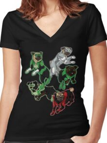 Pug Lantern Corp Women's Fitted V-Neck T-Shirt