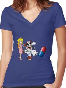 Dr. Mario and Nurse Toadstool Women's Fitted V-Neck T-Shirt