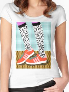 Spiffy - shoes art print memphis design style modern colorful california socal los angeles brooklyn hipster art pattern  Women's Fitted Scoop T-Shirt