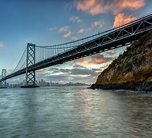 The Beautiful Bay Bridge Skyline at Sunset by Toby Harriman