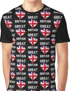 Great Britain - British Flag Heart & Text - Metallic Graphic T-Shirt