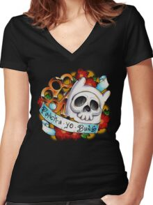 Pucha Yo Buns Women's Fitted V-Neck T-Shirt