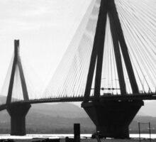 bridge plainly in b & w Sticker
