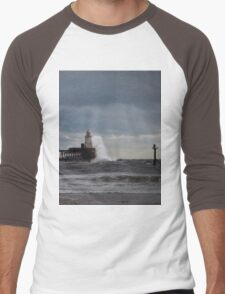 Rough seas at the harbour mouth Men's Baseball ¾ T-Shirt