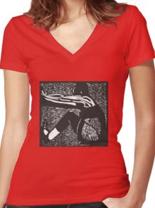 Breaking Free Lino print  Women's Fitted V-Neck T-Shirt