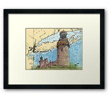 Navesink Twin Lighthouses NJ Nautical Chart Peek Framed Print
