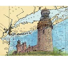 Navesink Twin Lighthouses NJ Nautical Chart Peek Photographic Print