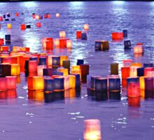Floating Lanterns -  Hiroshima, August 6 2003 Sticker